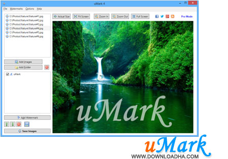 uMark قراردادن همزمان واترمارک روی عکس ها uMark Professional 4.0