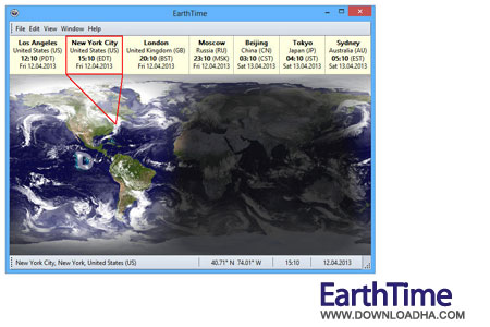 EarthTime ساعت محلی نقاط مختلف جهان DeskSoft EarthTime 4.2.3