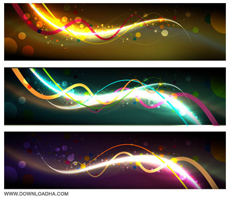 Abstract Dark Banners مجموعه 2 وکتور بنرهای رنگارنگ Vectors Abstract Dark Banners
