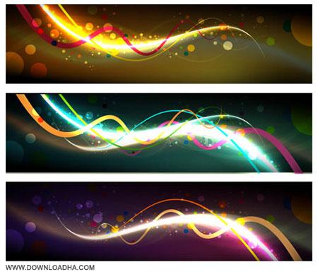 دانلود رایگان مجموعه ۲ وکتور بنرهای رنگارنگ Vectors Abstract Dark Banners