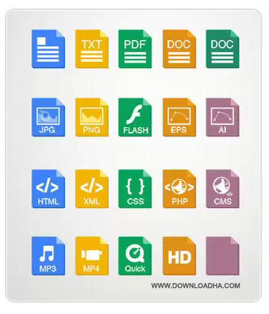 Minimal File Type Icons دانلود آیکون فرمت فایل ها Minimal File Type Icons