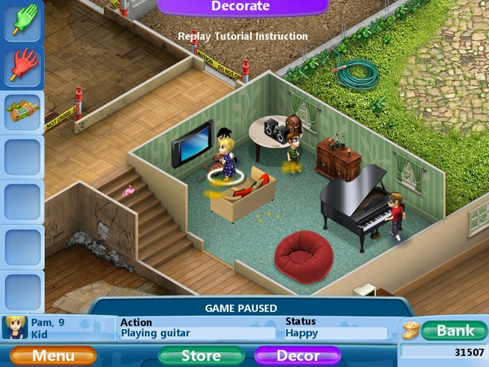 Virtual families 2 our dream house pc for Decorate a room online free virtually